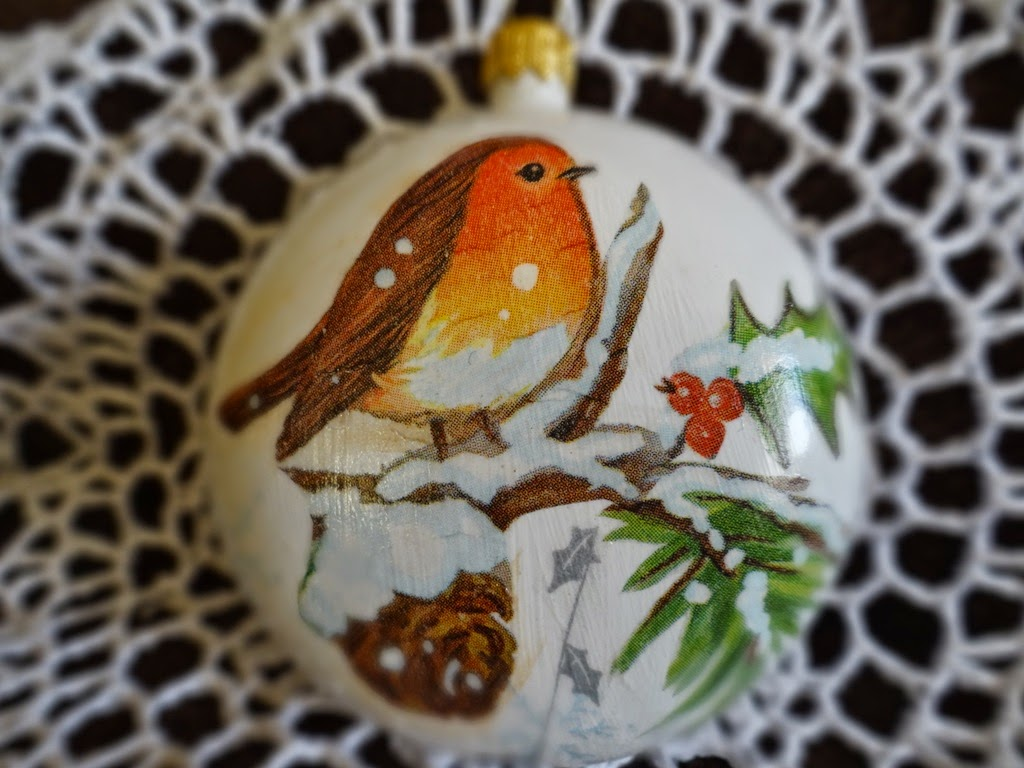 bombka decoupage z ptaszkami, Boże Narodzenie, dekoracje