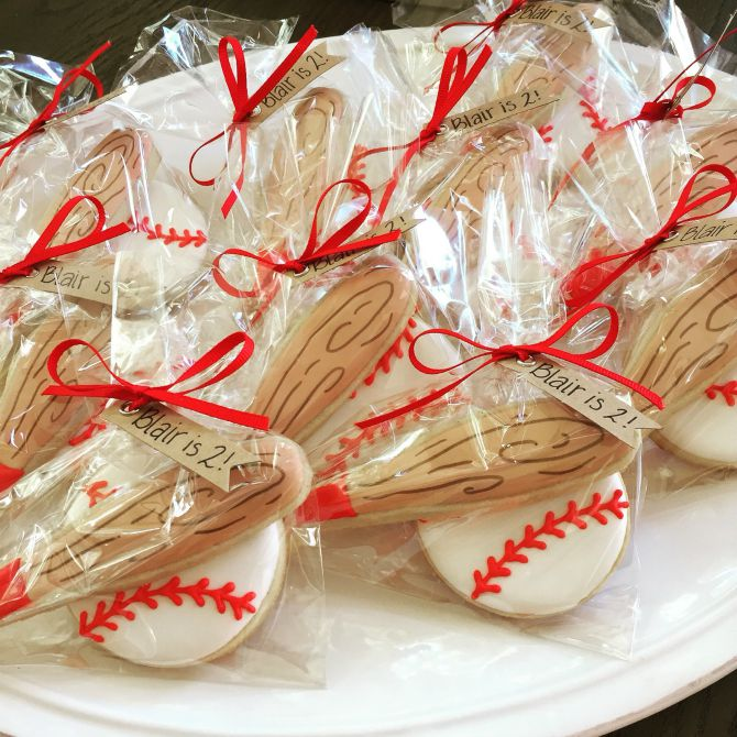 Sweet Elise baseball cookie favors
