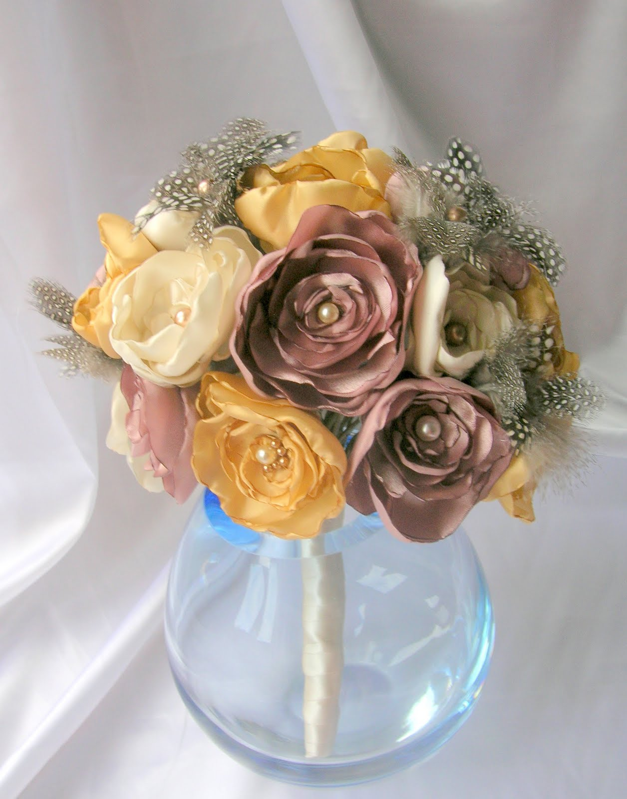 Fayes Flowers By Fashmore New Bouquet In Gold Ivory And Dusky Pink