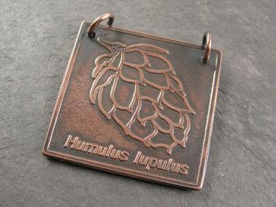 Libellula Jewelry:  etched copper hop pendant