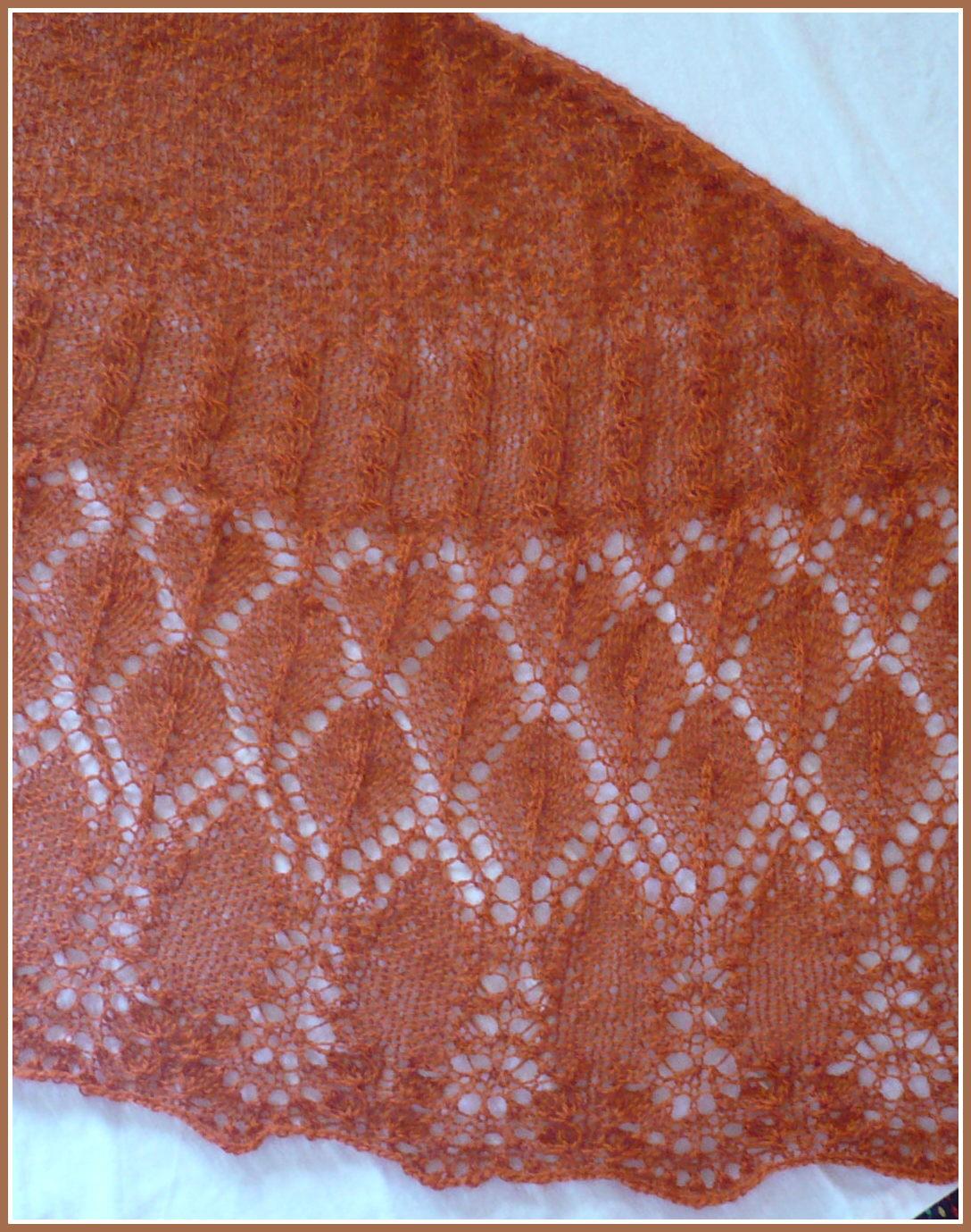 Angora Ram duża chusta na drutach