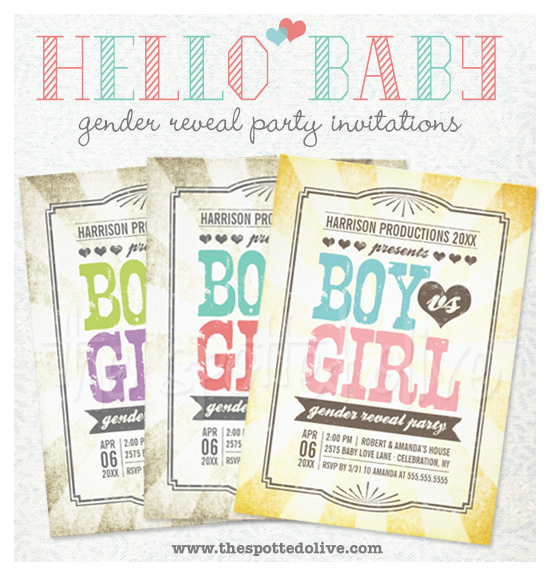 Gender Reveal Party Invitations by The Spotted Olive