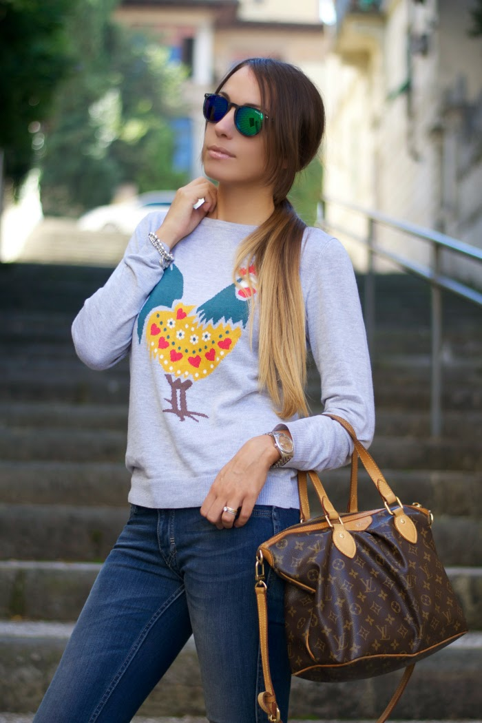 maglione stampa galletto