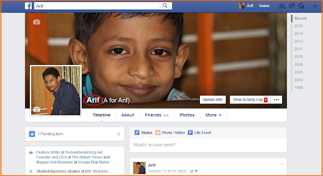 How to make Facebook profile name single
