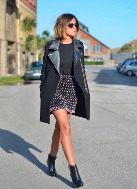 outfit do dia saia e casaco