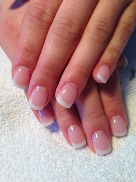 classic pink & white sculpts finished with the trusty Needy Nails 2 in 1 gel base topcoat gel nails acrylic nail art design