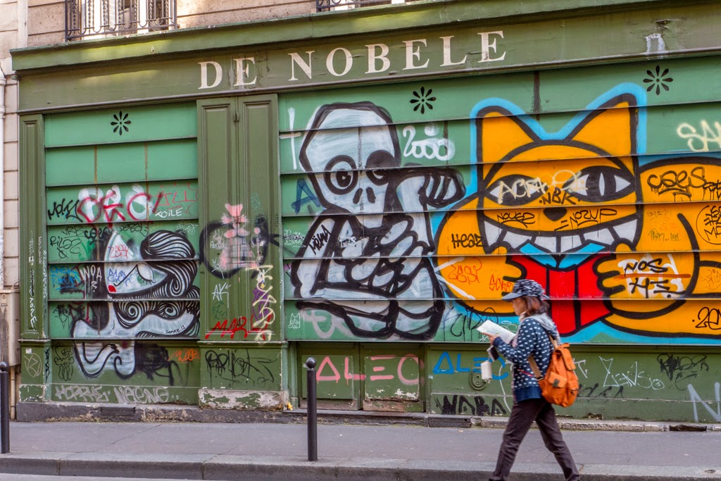 Paris France colorful graffiti on wall