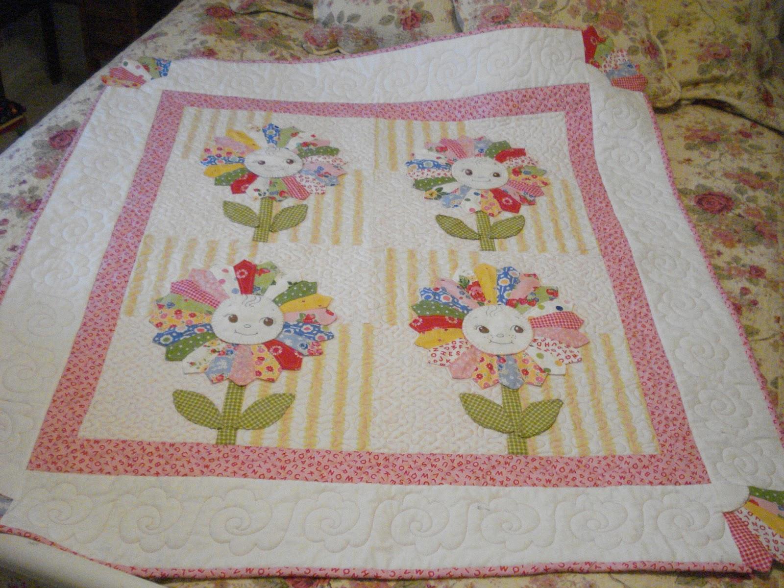 Pink Pincushion Bqf Baby Quilt Entry Sunflower
