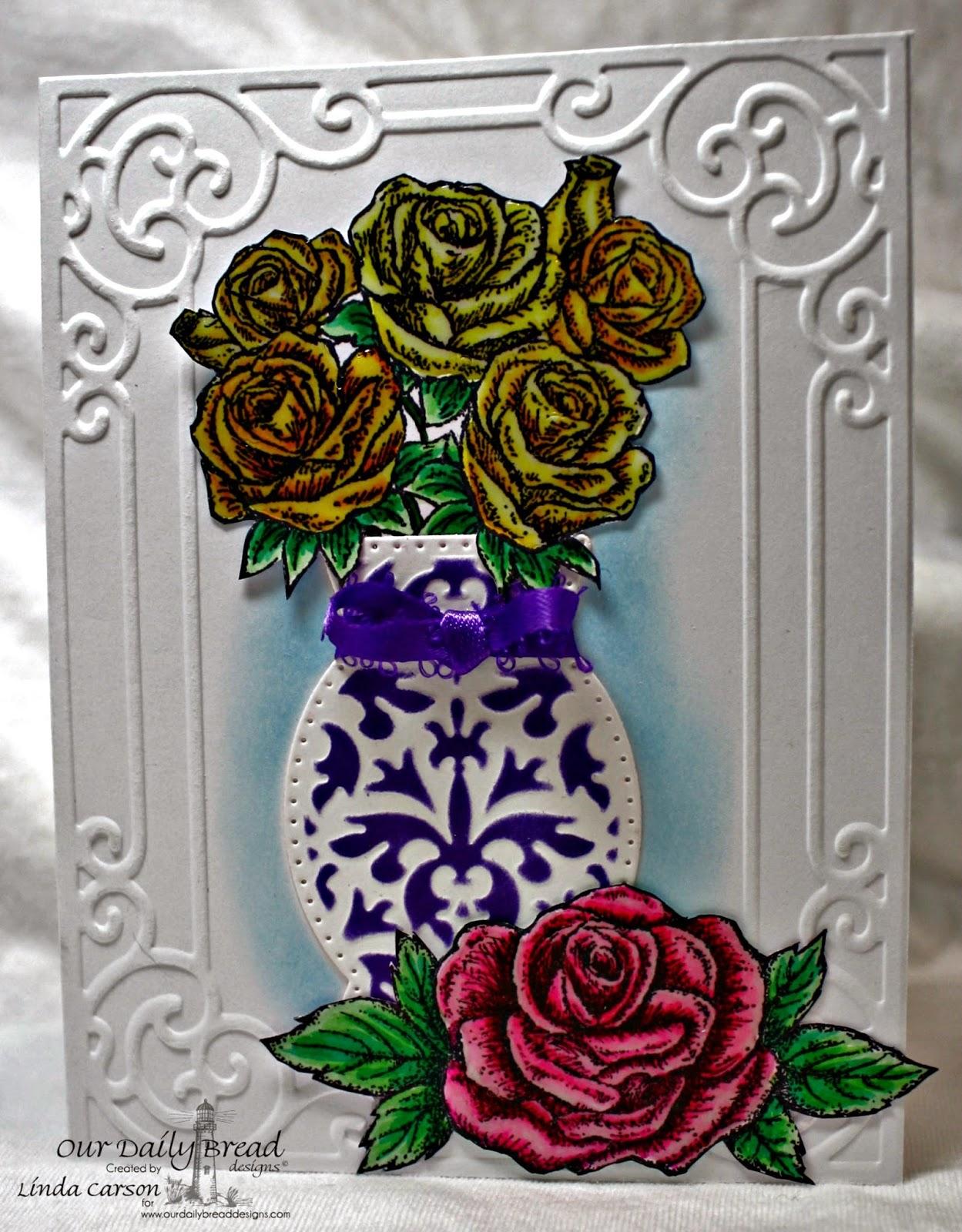 Properties:  ODBD, Rose Bouquet, My Friend, Decorative Vase die, designer Linda Carson