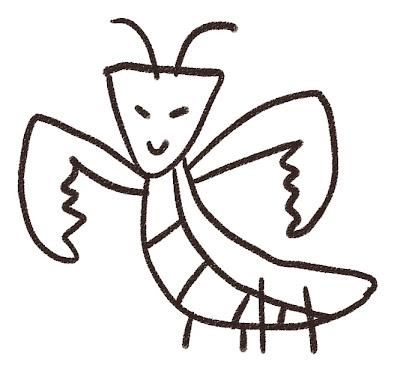 カマキリのイラスト(虫) モノクロ線画