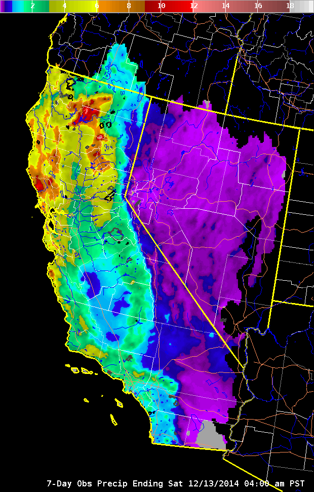 7 Day Rain Totals For California On 12-13-2014