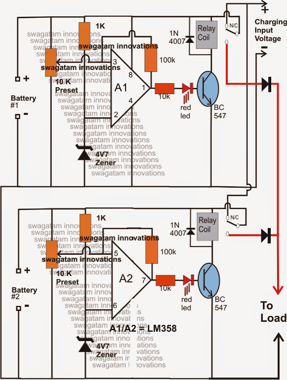 Twin Or Split Battery Charger Circuit With Auto Changeover