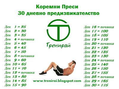 Коремни преси - 30 дневно предизвикателство