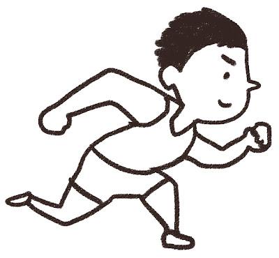 短距離走を走っている選手のイラスト モノクロ線画