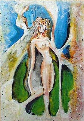 Madre natura donna nudo dipinti orme magiche quadro disegno pittura spirituale arte zen