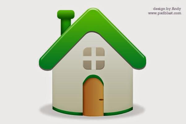 Green Home Icon PSD