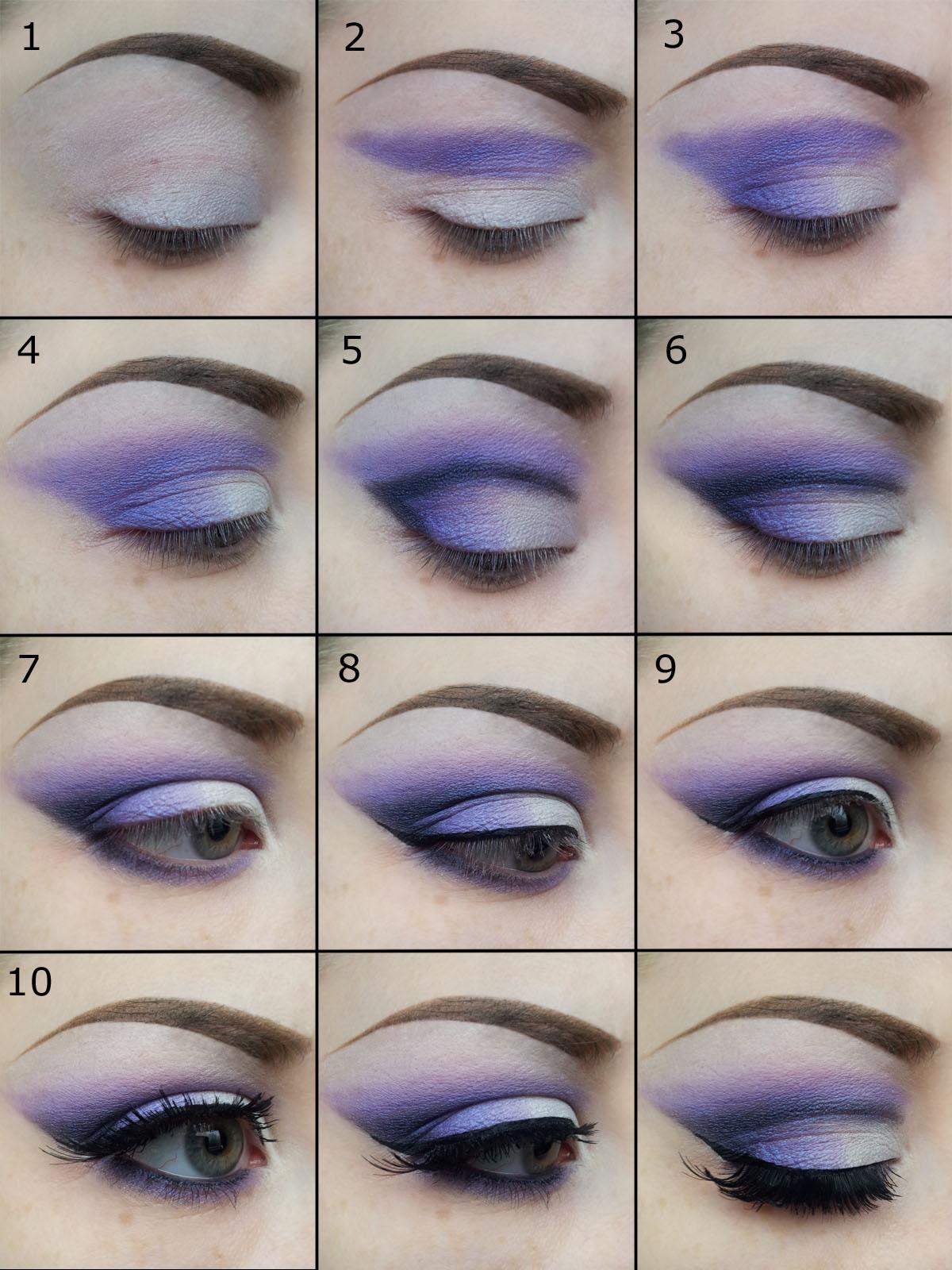 Смоки айс с фиолетовыми тенями пошагово