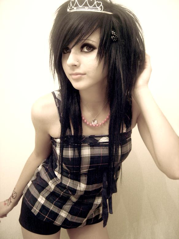 long black hair emo. If you had a white long blonde