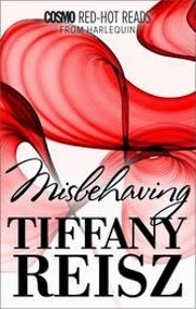 cover art for Misbehaving, featuring translucent red swirls against a white background. We're gonna assume they're hard candy, okay? Because the alternative is pretty gross?