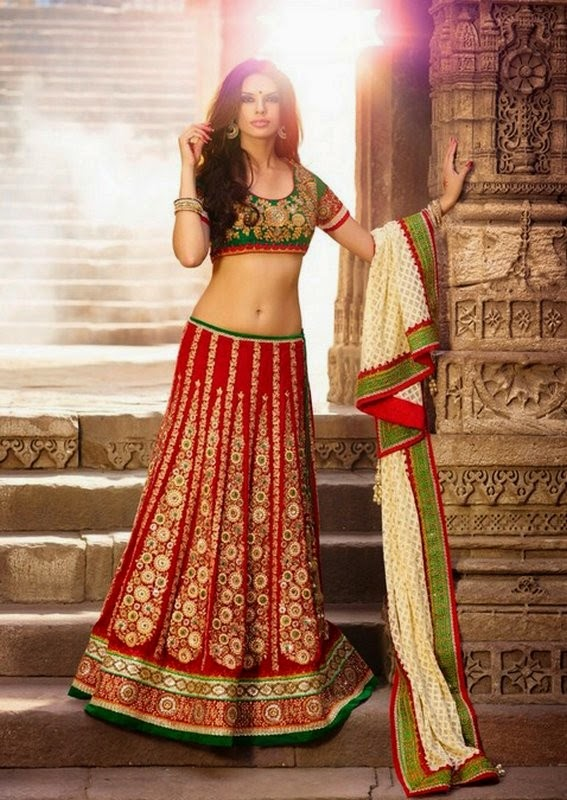 Maroon Velvet Lehenga With Cream Net Dupatta & Green Art Silk Choli