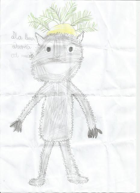 "Rysunek Moje Oli, pt. ""Król Julian"""
