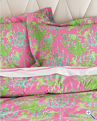 Fresh  this pink and green monkey duvet is sold out but a pair of pillow cases would be darling with the solid pink coverlet and crisp white sheets sale