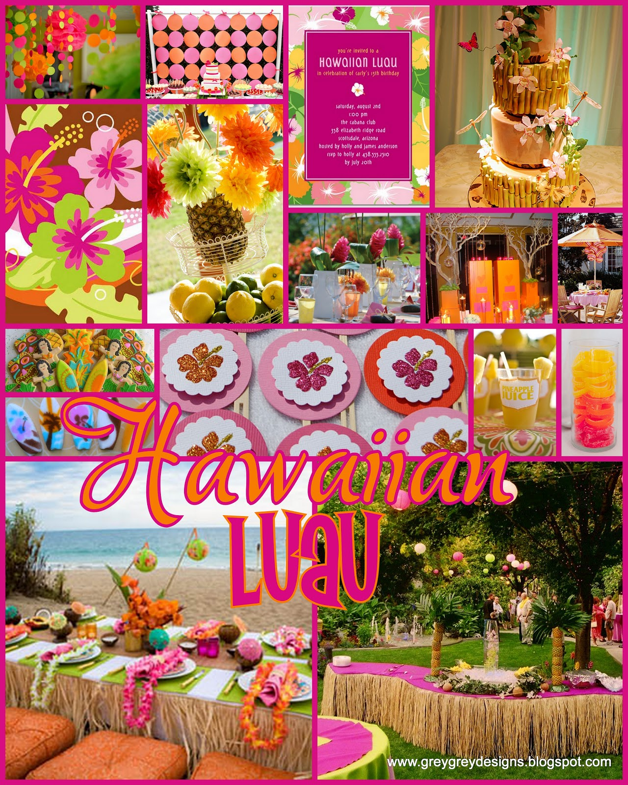 GreyGrey Designs: Chic Hawaiian Luau Inspiration Board
