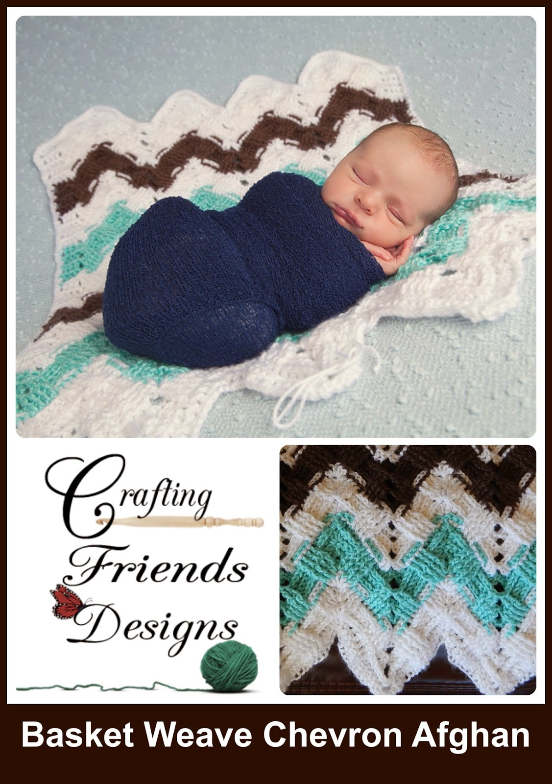 Crafting Friends Designs New Textured Basket Weave Chevron Afghan
