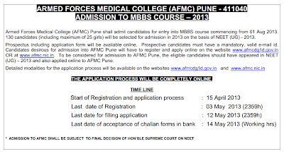 AFMC Pune MBBS Admissions 2013, AFMC Admission to MBBS Course 2013