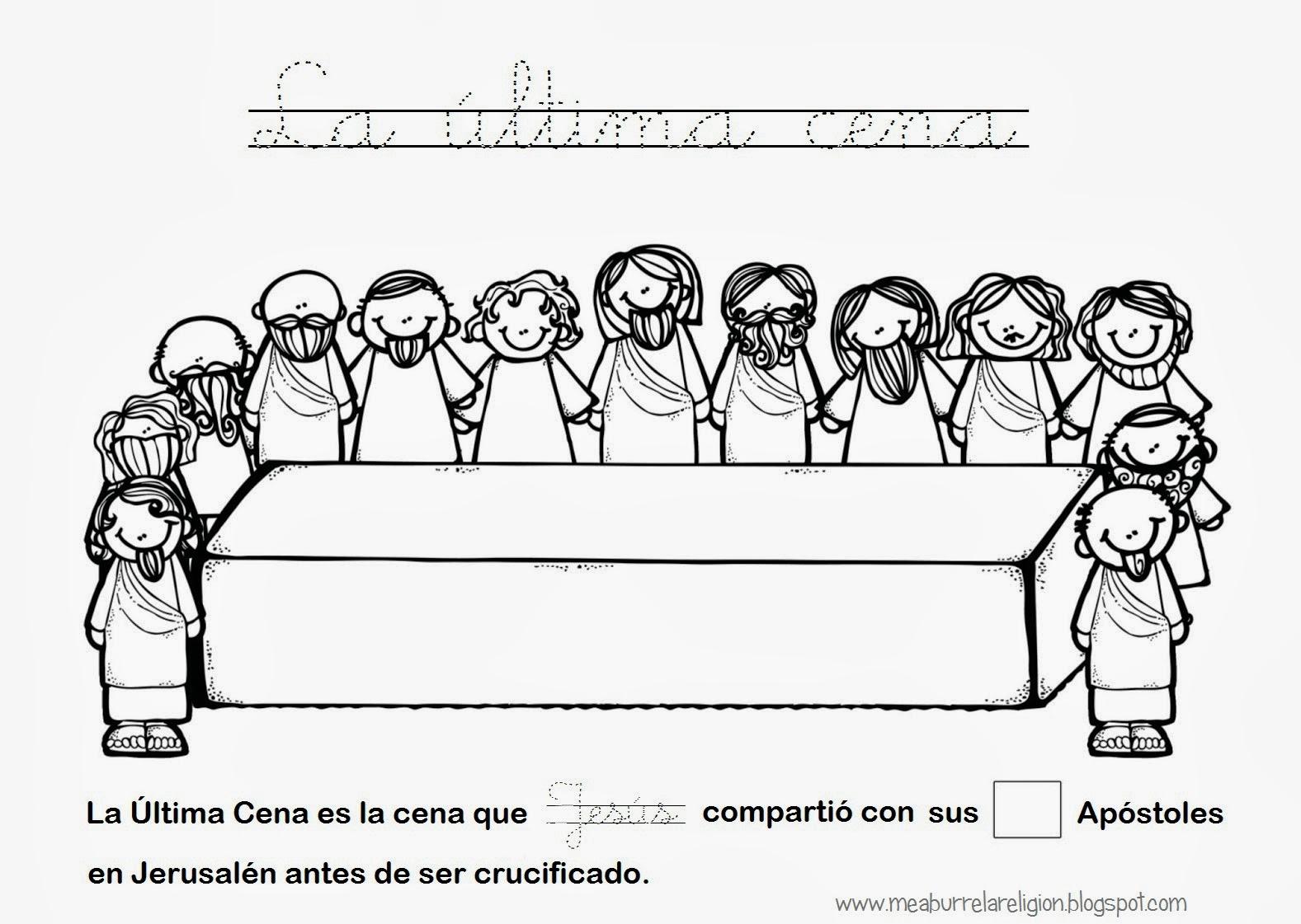 La Ultima Cena de Jesús. para Colorear y en Colores