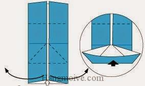 Bước 5: Từ vị trí mũi tên, mở hai lớp giấy ra hai bên, kéo và gấp tờ giấy lên trên.