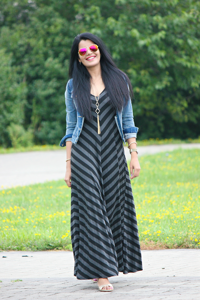 Gap maxi dress green stripe