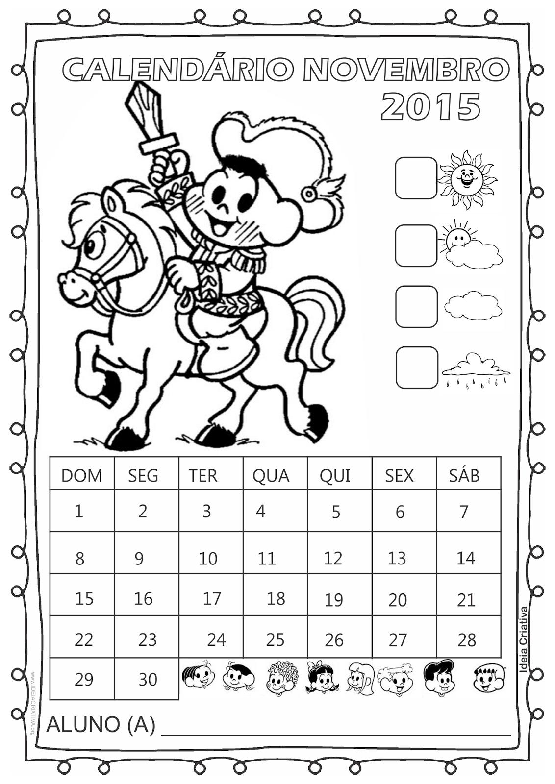 Calendário Turma da Mônica 2015 para Imprimir Grátis Novembro