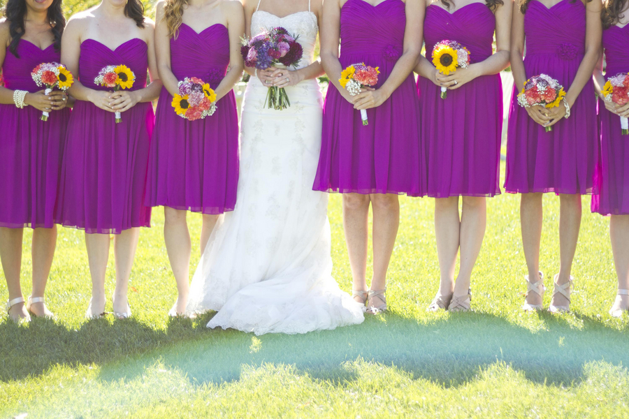 Modern youth wedding dresses: Purple bridesmaid dresses with sunflowers
