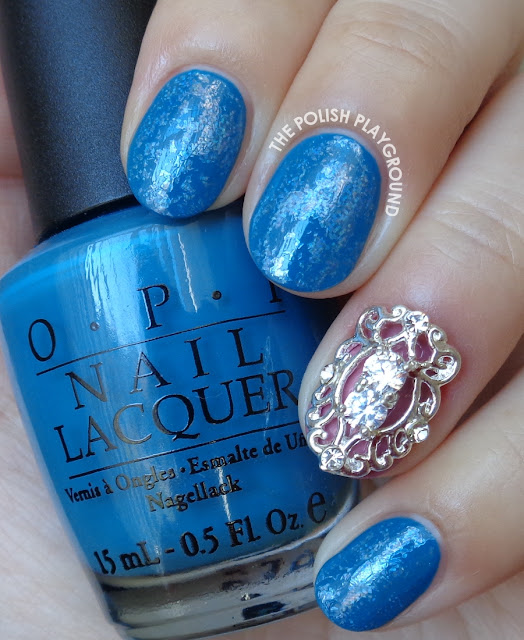 Blue with Holographic Nail Foil Nail Art