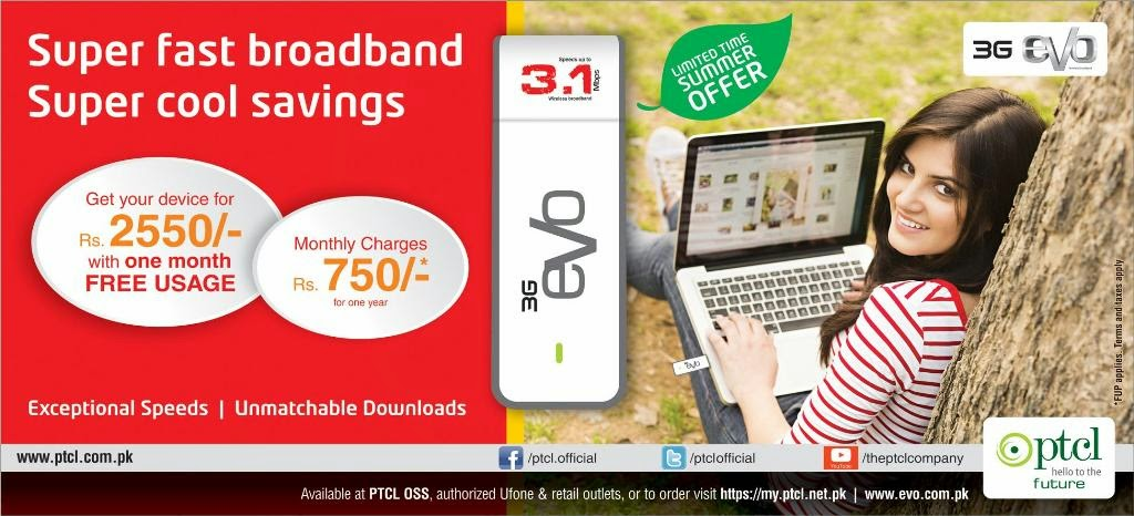 PTCL 3G evo | Limited Time Summer Offer in Pakistan