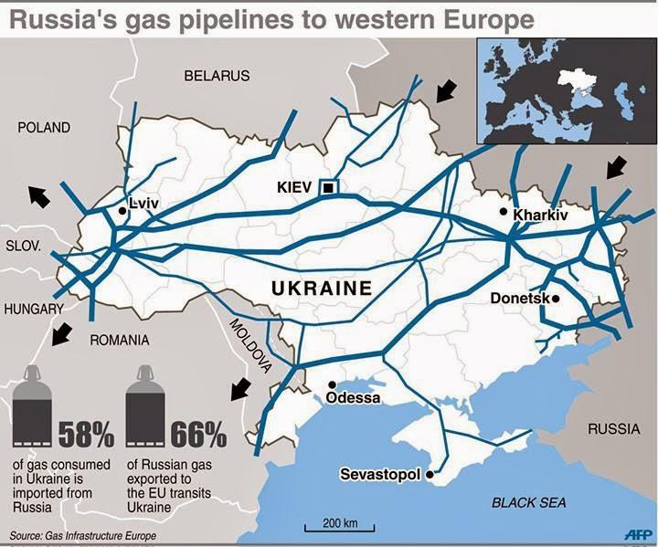 Χάρτης αγωγών φυσικού αερίου στην Ουκρανία