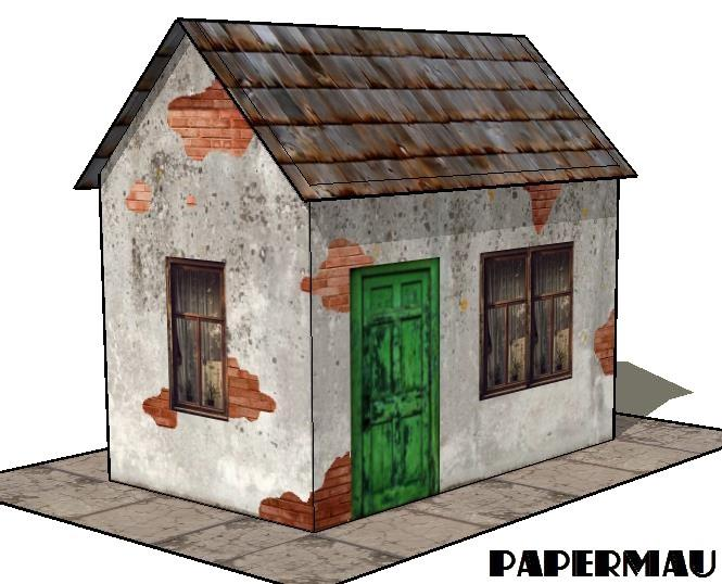 Papermau Easy To Build Derelict House Paper Model By