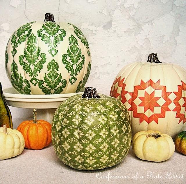 decoupage na dyni jesienna dekoracja fall inspiration pumpkins