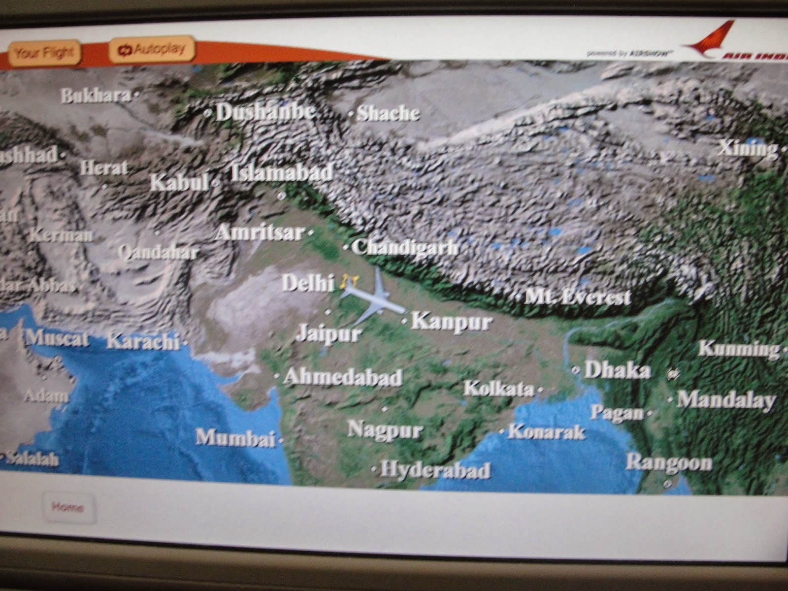 the normal moving map our route took us over the fertile gangetic plans of northern and eastern india throughout the whole of the flight