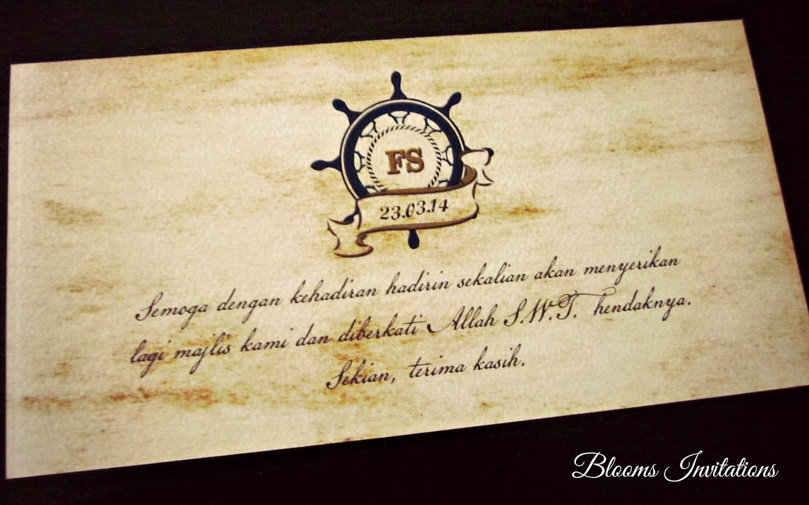 Vintage Nautical Boarding Pass Wedding Invitation