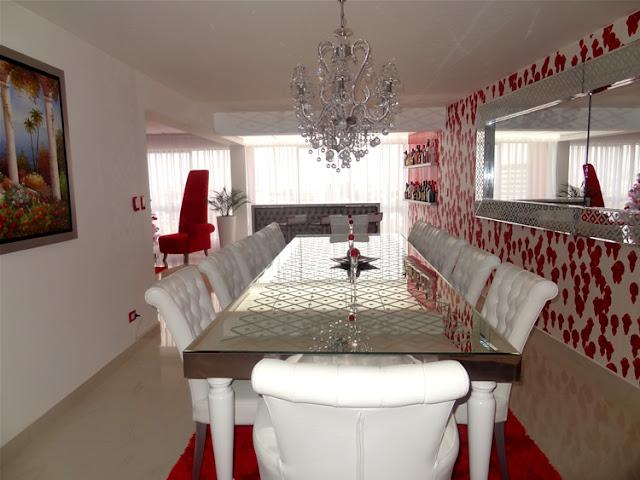 Sala comedor rojo y blanco salas y comedores decoracion for Adornos modernos para living comedor