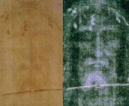 Fotografía de la Sábana Santa en dos versiones: A la izquierda, en positivo; y a la derecha, en negativo.