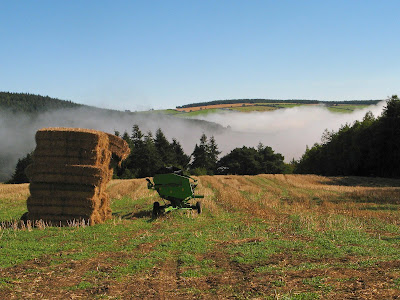 Harvested field, bales and mist in the valley - blue sky above