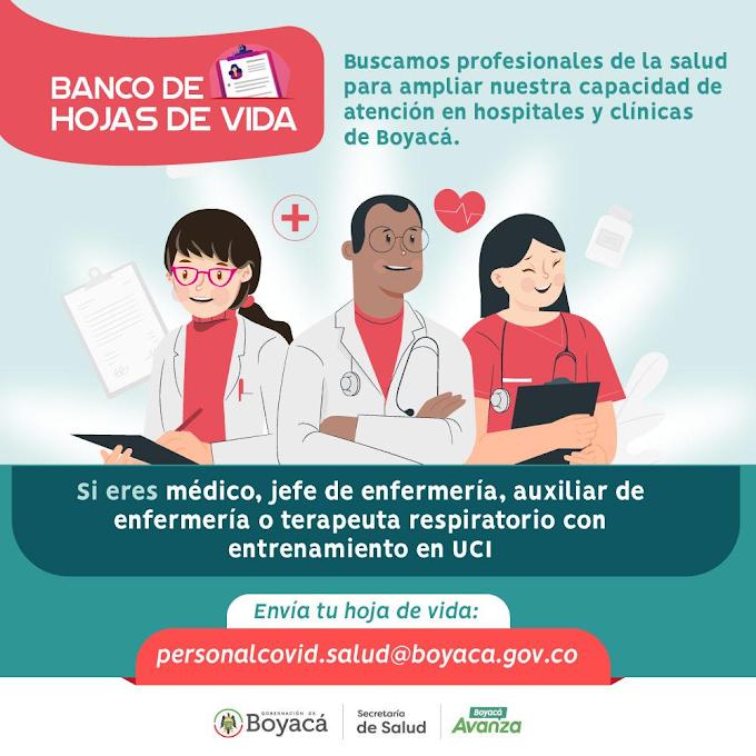 Gobierno de Boyacá abrió convocatoria a profesionales de la Salud para hacerle frente al COVID19