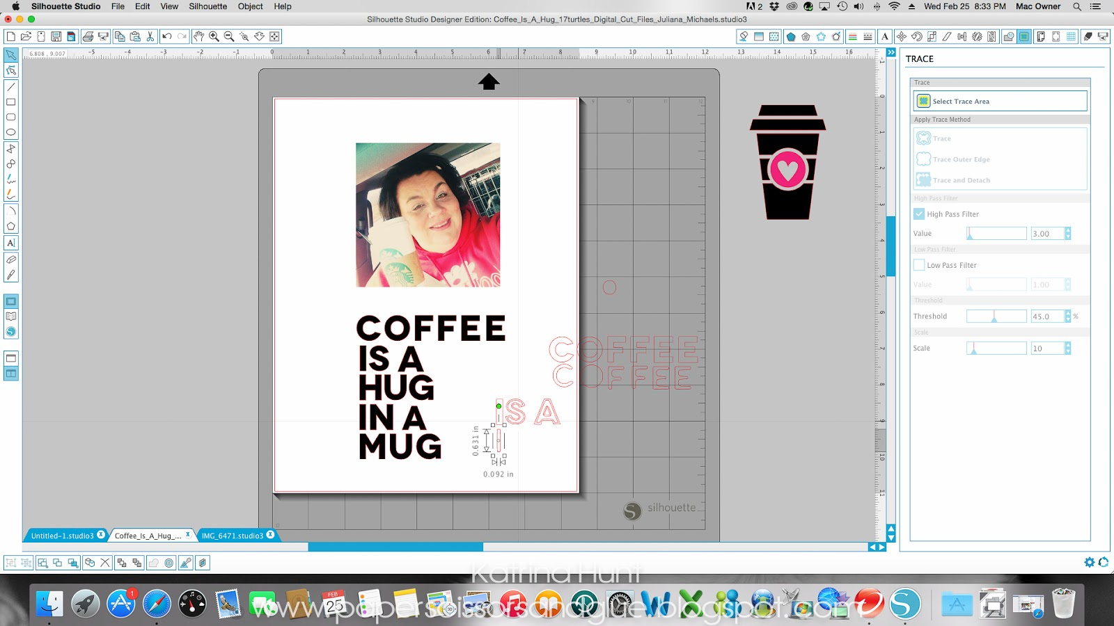 Coffee Is A Hug In A Mug Scrapbook Page and Silhouette Sketch Pen Tracing Tutorial by Katrina Hunt featuring 17turtles Digital Cut Files