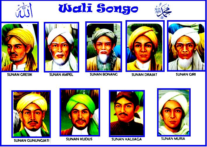 Maulana Malik Ibrahim, Sunan Ampel, Sunan Bonang, Sunan Giri, Sunan Drajat, Sunan Kudus, Sunan Kalijaga, Sunan Muria, Sunan Gunung Jati