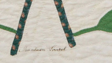 I think it's interesting to see that Esther chose to quilt on top of her applique' work in addition to the echo quilting she did around the botanicals.  Notice that she used white thread, this was fairly common in early baltimore album style quilts.