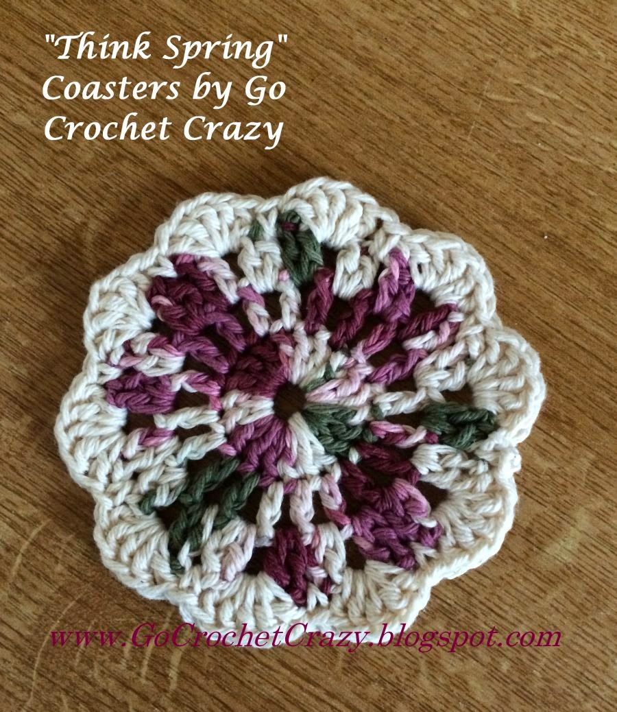 """Think Spring"" Cotton Crochet Coasters, free pattern by Go Crochet Crazy"
