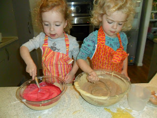 Divide cake mix into 3 bowls and colour for Rainbow Cake.